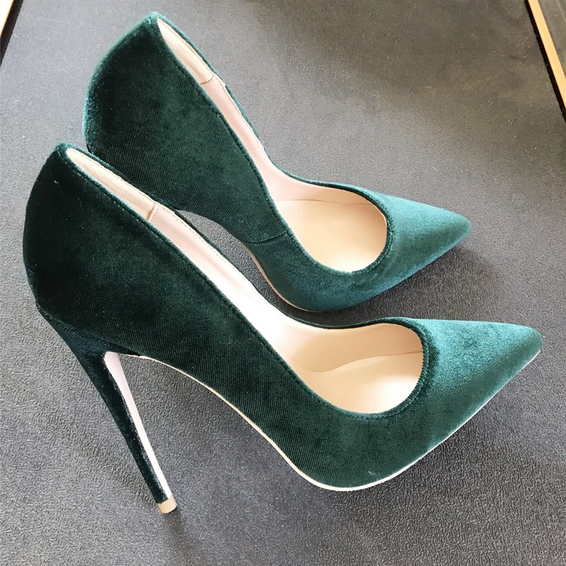European and American autumn new 12cm dark green light mouth pointed velvet high-heeled <font><b>shoes</b></font> mix and match <font><b>sexy</b></font> 10cm wedding image