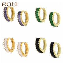Roxi elegante zircão cristais hoop brincos para mulher roxo branco preto verde brincos cartilagem 925 prata esterlina jóias