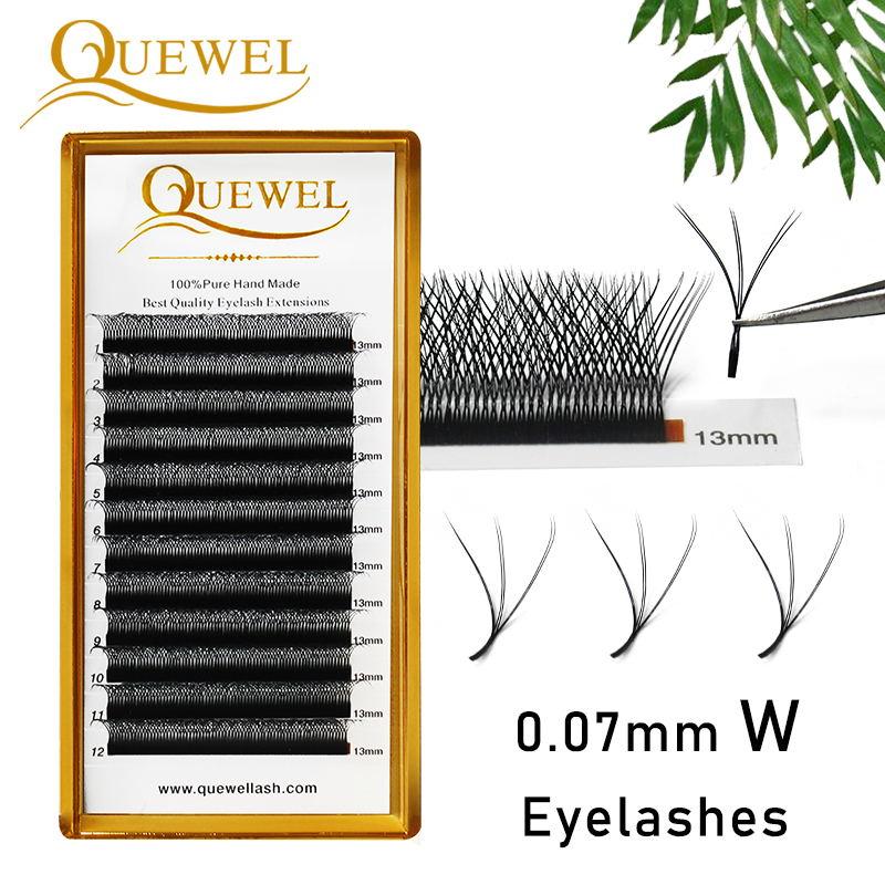 Quewel W Shape Eyelash Extensions 0.07mm 8-14Mix Tray W Style Lash Comfortable New Volume Individual False Eyelash Natural Thick