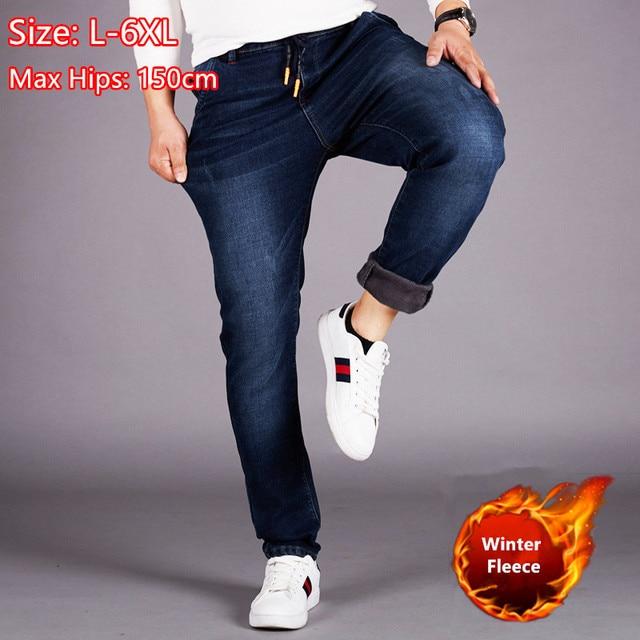 Джинсы мужские зимние с флисовой подкладкой, теплые облегающие брюки из денима, с эластичной завышенной талией, синие, размеры 5XL 6XL