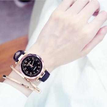 Women's Casual Quartz Wrist Watch Luxury Rose Gold Starry Sky Dial Watch Analog Clock Leather Strap Watch Relogio Feminino casio watch women luxury brand analog leather square dial women s wrist watch female quartz clock relogio mulher ltp v007
