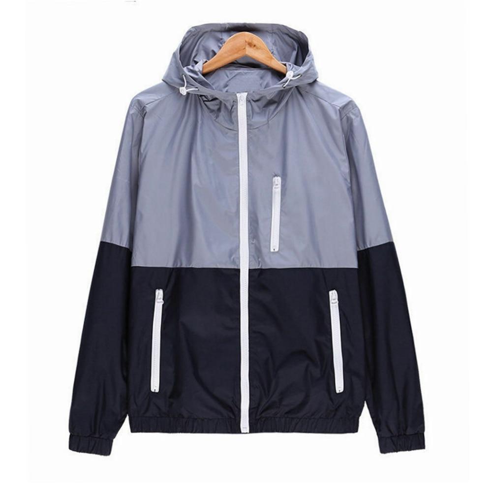 Men Windbreaker Jacket Men's Hooded Casual Thin Jackets Coat Mens Lightweight Zipper Jacket Coat Outwear Couple