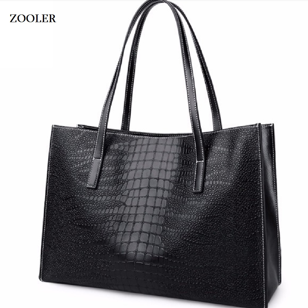 ZOOLER 2019 high quality soft Cow Leather Women Handbags Large Capacity Shoulder Bag black handbag For Women Tote Bag 2109 in Top Handle Bags from Luggage Bags