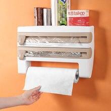 Parede-montagem 4 em 1 suporte de toalha de papel molho garrafa rack de armazenamento abs cortador de filme mutifunction cozinha estanho folha rack organizador