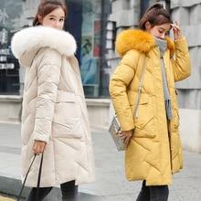 Parka Women Winter Coats Long Cotton Casual Fur Hooded Jackets Women Thick Warm Winter Parkas Female Overcoat Coat 2019 цена