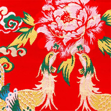 75x100 см Феникс дизайн фестиваль красная парча узор жаккард полиэстер ткани для подружки невесты платья