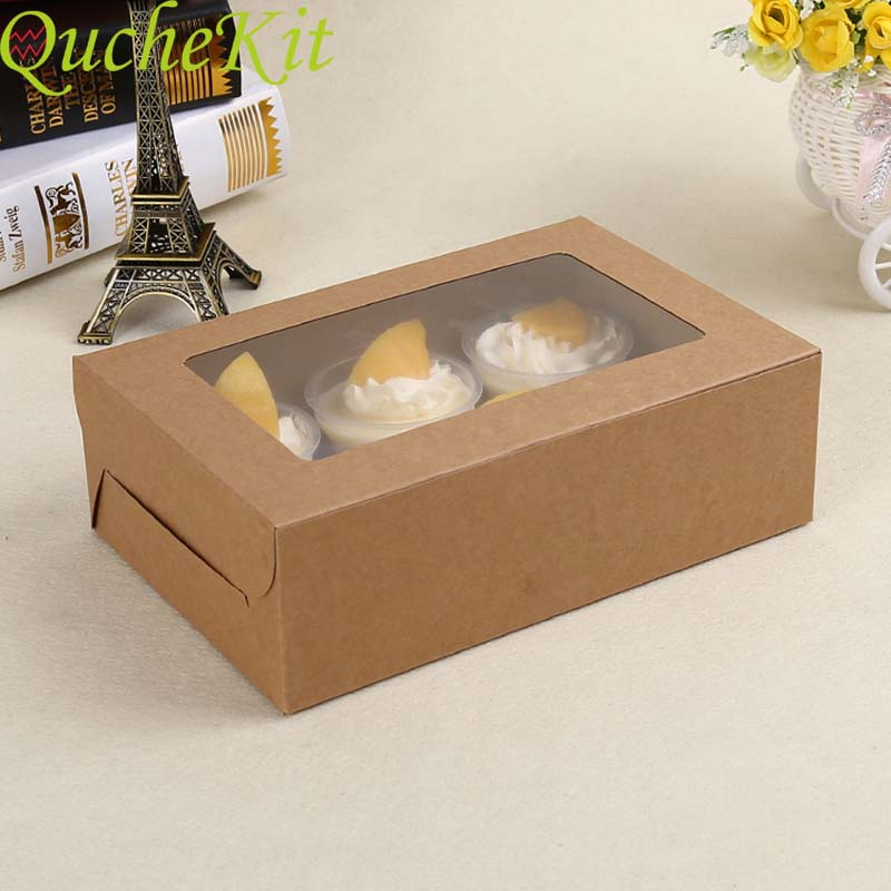 6 Cups Cupcake Muffin Box With Window Kraft Paper Cake Box Pudding Dessert Macaron Baking Box Wedding Christmas Gift Packaging