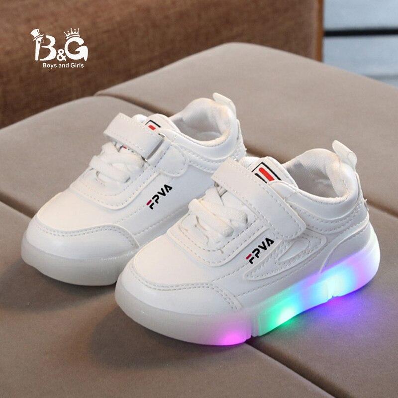 B&G Kids LED Light Shoes Antislip Boys Skateboarding Shoes Girls' Lighted Sports Sneakers Luminous Shool Shoes