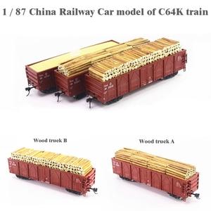1/87 Китае железнодорожный вагон модель C64K поезд с изображением деревянного грузовой вагон перевозки номер подбирается методом случайного в...