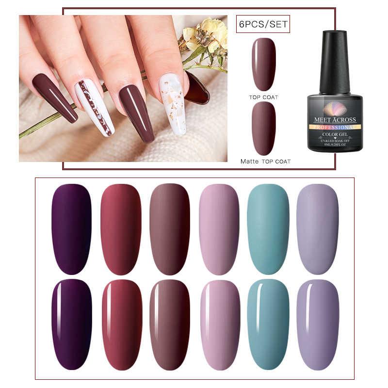 Rencontre à travers 6 pièces/ensemble Gel vernis à ongles couleur Pure Semi Permanent Base supérieure besoin UV LED laque pour manucure Nail Art Gel vernis