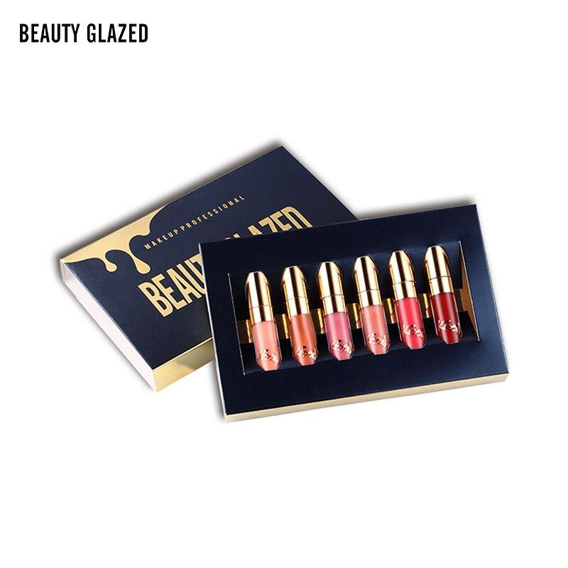BELEZA VITRIFICADA 6 pçs/set Batom Líquido Lip Gloss Kit de Maquiagem Profissional Batom Matte Lip Cosméticos Maquiagem de Longa Duração