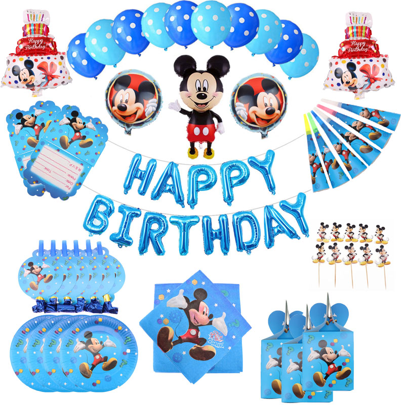Mickey Mouse Happy Birthday Party Supplies Paper Plates Napkins Cake Topper Boys Baby Shower Christmas Decorations Party Favors