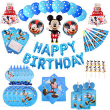 mickey mouse Happy birthday party supplies Paper Plates napkins cake topper Boys Baby Shower christmas decorations party favors(China)