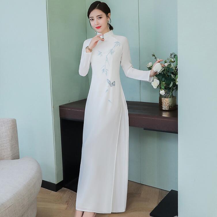 Cheongsam Dress Traditional Vietnam Ao Dai Long Sleeve Print Qipao