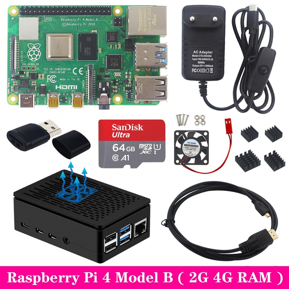 Raspberry Pi 4 2GB 4GB RAM avec boîtier ABS alimentation aluminium dissipateur de chaleur Micro HDMI câble pour Raspberry Pi 4 modèle B Pi 4B Pi4
