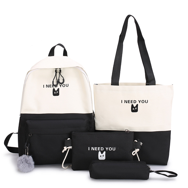 4pcs set <font><b>Canvas</b></font> Backpack School <font><b>Bags</b></font> For Teenage Girls Travel Laptop Bagpack Women College Student Backbag <font><b>Mochilas</b></font> <font><b>Escolares</b></font> image