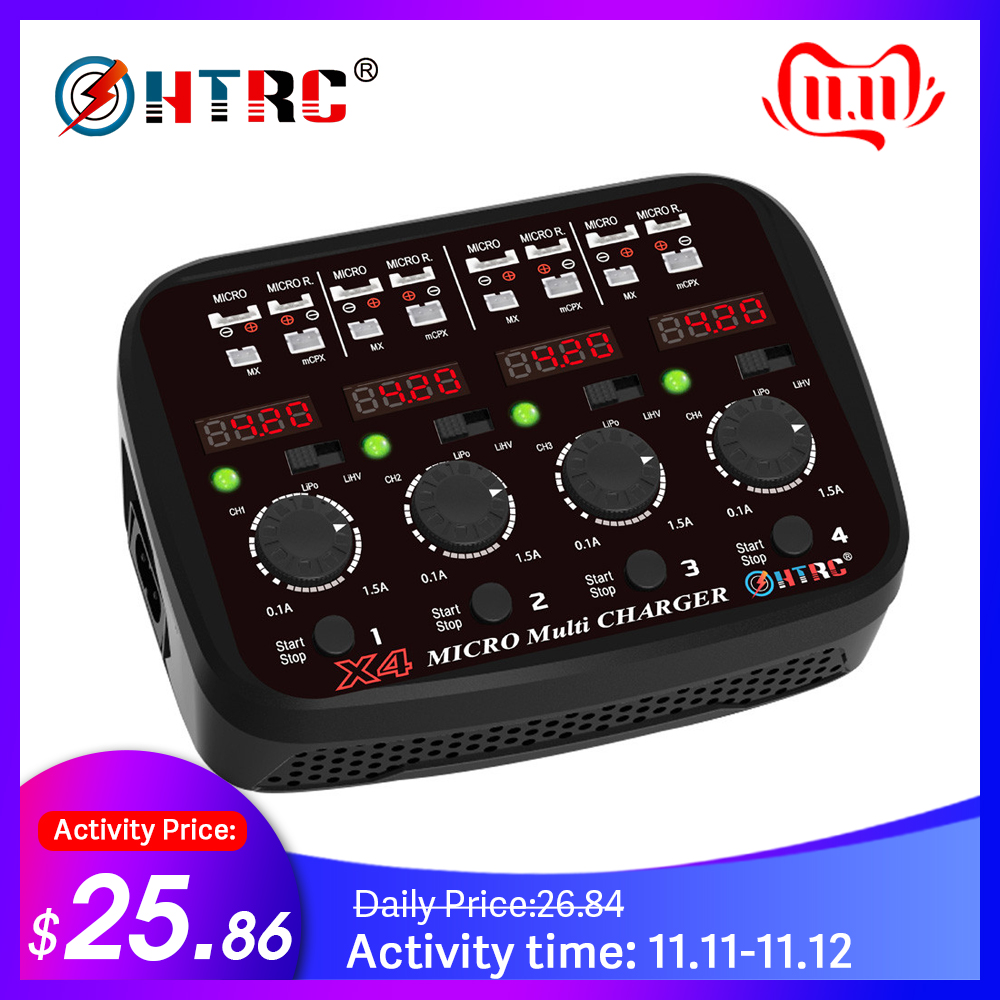 HTRC 100-240V AC DC 4x1s 24W  1.5A Quattro 1s Lipo/Lihv Micro Battery Charger  For Micro/Micro Reverse/MX/mCPX With LED Light