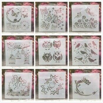 9Pcs/Set 13cm Owl Bird Dragon Octopus DIY Layering Stencils Painting Scrapbooking Stamp Embossing Album Decorative Template