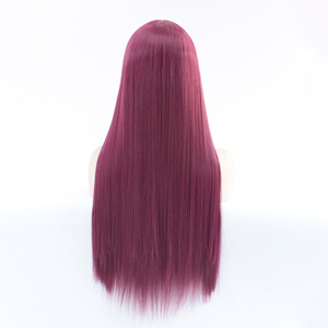 Image 4 - MRWIG Middle Part #2030 dark burgundy Long Straight Heat Resistant Fiber Glueless Wigs For Women Synthetic Lace Front Wig
