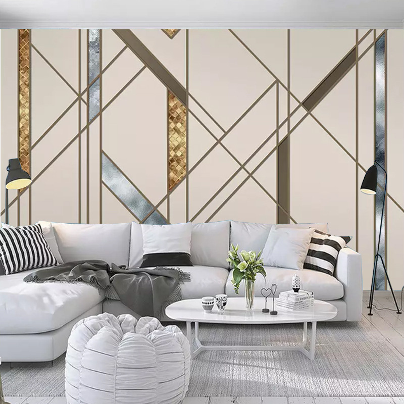 Customizable Scandinavian Minimalist Cool Abstract Geometry Lines Square Living Room Bedroom Sofa TV Background Wallpaper Mural