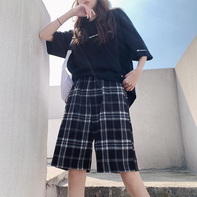 Shorts Women Summer Black Plaid Cotton Loose Korean-style Summer high waist Harajuku Simple Oversize Trousers Female Shorts 1