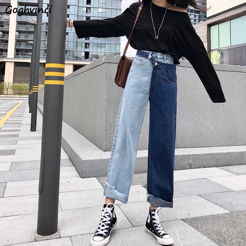 Джинсы женские с высокой талией джинсовые универсальные корейский стиль Карманы длиной до щиколотки брюки корейский стиль женские прямые
