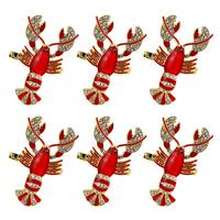 6pcs Alloy Lobster Napkin Ring Buckle Electroplated Epoxy Metal Prawns Napkin Ring Soft Sample Model Room Hotel Table Wholesale