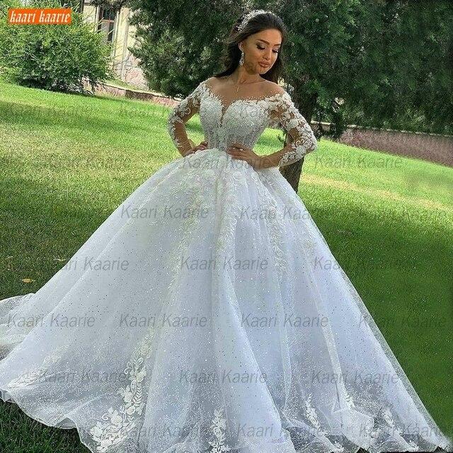 Ball Gown Wedding Dresses O Neck Long Sleeves Vestido Casamento Lace Up Appliqus Beaded Bride Gowns 2021 Suknie Slubne Princess 4