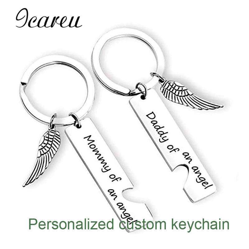 Trendy Family Customized Keychains Angel Wings Lettering Keyring Father's Day Mother's Day Gift Diy Accessories For Mom Papa