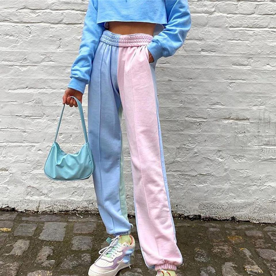 Contrast Color Baggy Women Jogger Sweatpants Casual Pink Blue Patchwork High Waist Trousers Female Hip Hop Streetwear