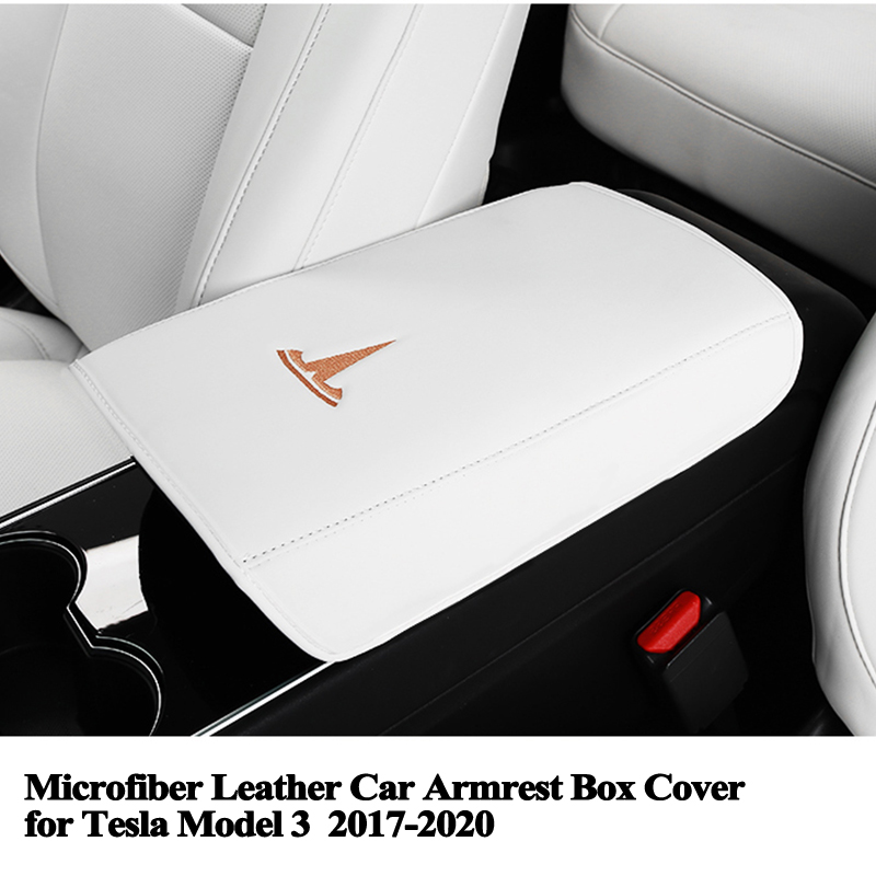 Car Armrest Box Control Panel Decoration Cover Center Console Carbon Fiber Stickers Compatible Model S Model X Tesla Home