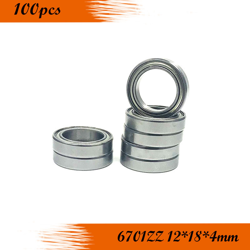 High Quality 100PCS 6701ZZ Bearing  12x18x4 Mm Thin Section 6701 ZZ Ball Bearings 61701ZZ 6701Z Free Shipping