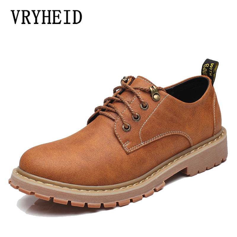 VRYHEID 2019 Men Casual Shoes Men Martins Leather Shoes Work Safety Shoes Winter Waterproof Ankle Botas Brogue Plus Size 37-47