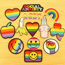 Prajna LGBT Gay Patch Embroidered Patches On Clothes Letter Stripe Iron Heart Rainbow Applique Sticker DIY