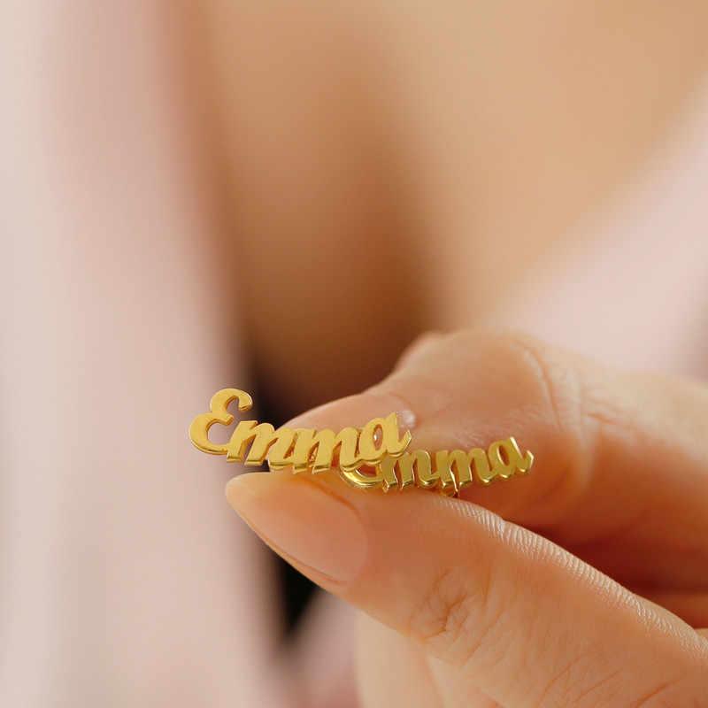 かわいい名女性ガールファッションジュエリーカスタマイズされたステンレス鋼 18 18k ゴールドイニシャル手紙イヤリングパーソナライズされた