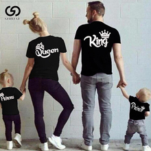O-neck Short Sleeve Cotton Couple Tee Top Family Matching Outfits KING QUEEN PRINCE PRINCESS Print Family Funny Looking Tshirt letter print matching couple tee