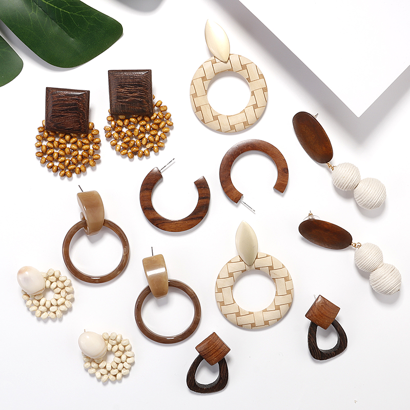 AENSOA Ethnic Wood Geometric Round Oval Square Drop Earrings Vintage Brown Acrylic Resin Statement Earrings Fashion Jewelry 2019