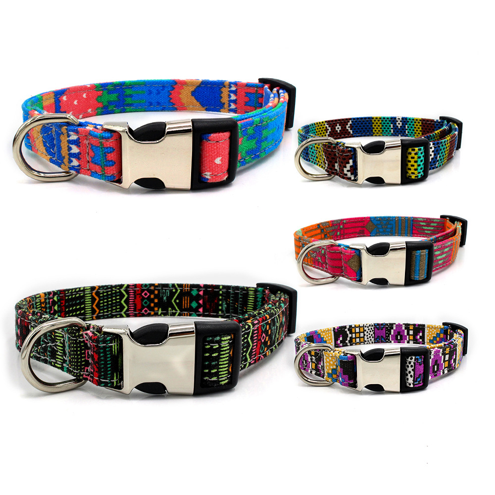 Semi-metallic Lettering Pet Collar Double Layer Fabric Bohemian Dog Neck Ring