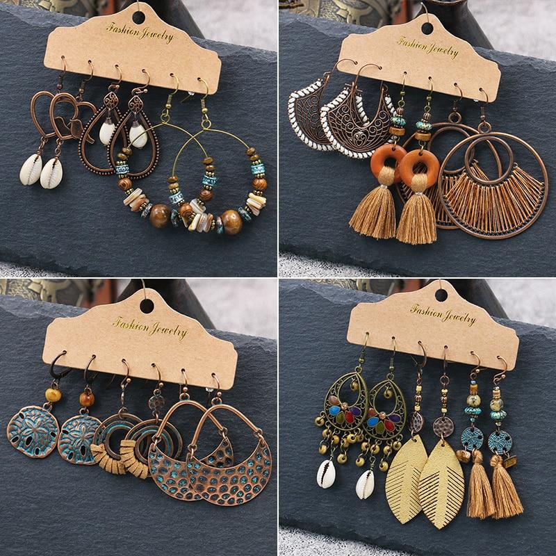 New fashion suit Earrings Bohemian style bronze Indian women's jewelry gift Dangling Earrings Shell wooden beads Eardrop