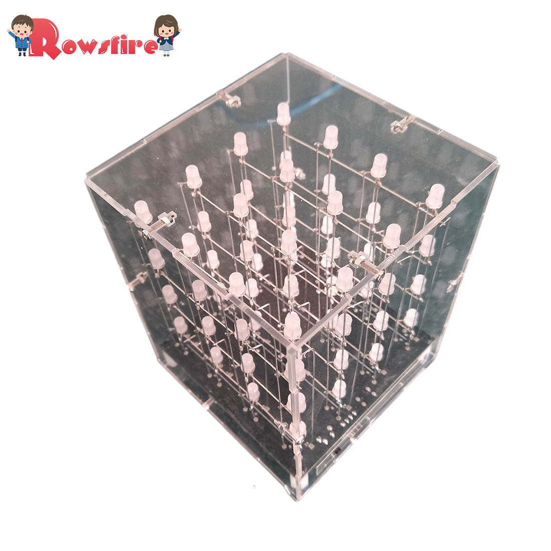 4 X 4 X 4 3D Multicolor Led Light Cube Kit Infrared Remote Control LED Light Cube - Finished Product