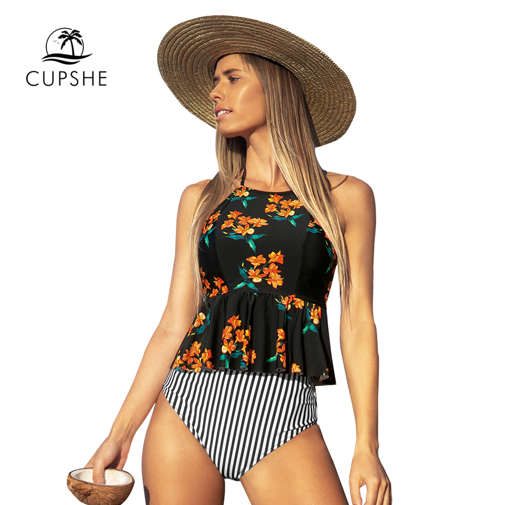 CUPSHE Black Floral Halter Tankini High-Waisted Set Sexy Bikinis Swimsuit Two Pieces Swimwear Women 2020 Beach Bathing Suits 2