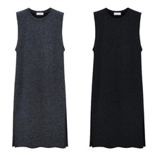 Plus Size Knitted Vest Dress Women Sleeveless Loose Autumn Winter Sweater Dress Large Size Pullovers