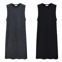 Plus Size Knitted Vest Dress Women Sleeveless Loose Autumn Winter Sweater Dress Large Size Pullovers Dress 5XL 6XL Robe Femme