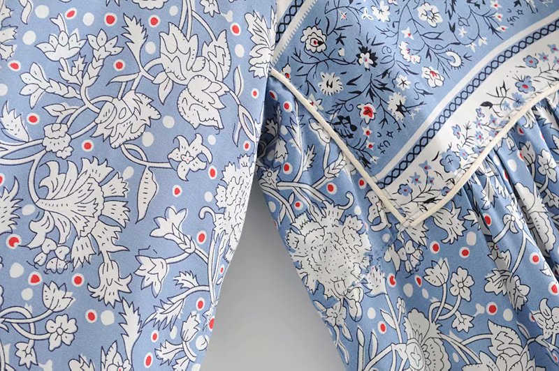 ヴィンテージシックなレディースロングスリーブレースアップ花磁器プリントビーチボヘミアンミディドレスレディースタッセルレーヨン自由奔放に生きるhappieドレス