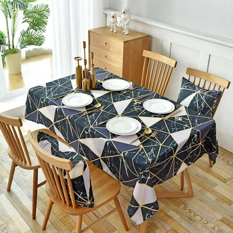 Waterproof Tablecloths Black Wall Tiles Geometric Printed Rectangular Kitchen Dining Table Cover Cafe Restaurant Table Cloth Tablecloths Aliexpress