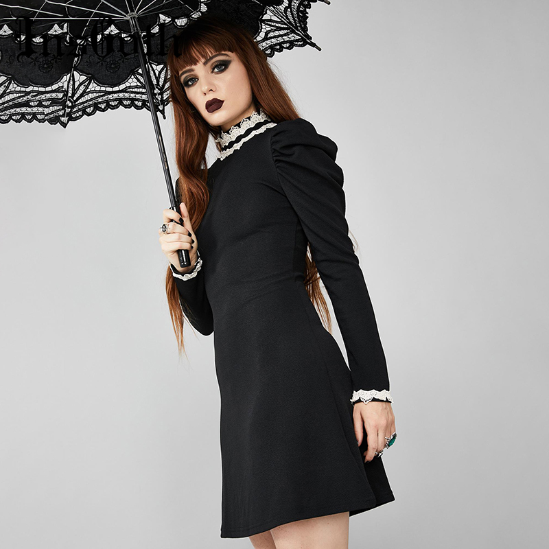 InsGoth  Elegant Black Women Dress Gothic Vintage Long Sleeve Mini Dress Lace Patchwork Palaced Retro Female Party Dress Autumn