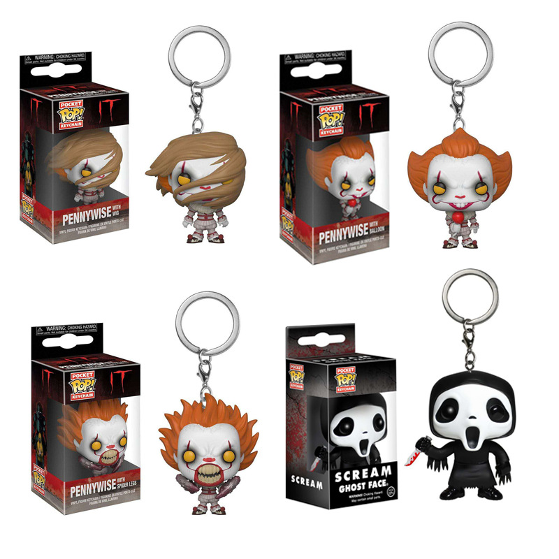Stephen King's It Pennywise Scream Ghost Face Pocket Keychain Action Figure Collection Model Toys For Children Gift