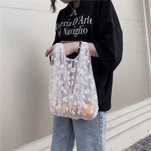 Cloth-Bag Tote Transparent Reusable Fruit-Storage-Bag Embroidery Mesh Cute Handbag New