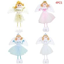 4pcs/set Christmas Wing Angel Doll Decoration Home Xmas Party New Year Gift Table Desk Ornaments Kids Toy