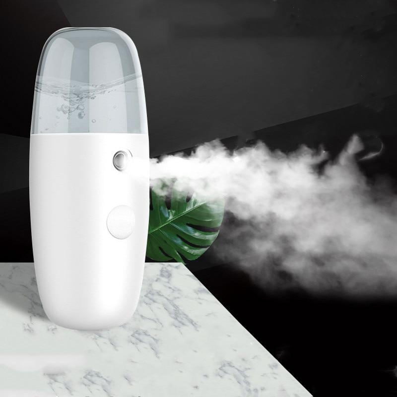 Portable USB Charging Nano Mist Maker Humidifier Facial Moisturizing Beauty Cooling Mist Spray Mini Face Humidifier Handy